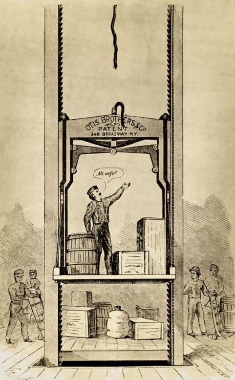 Il·lustració del primer ascensor