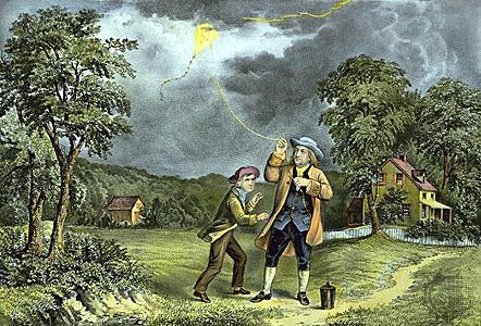Il·lustració de l'experiment de Benjamin Franklin amb un estel on va descobrir que és podien parar els llamps